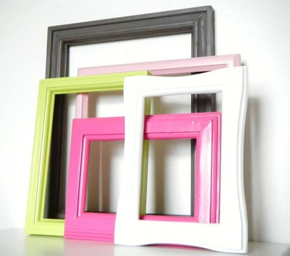 Frames Set with GLASS in Brownish Gray, Light Pink, Hot Pink, Lime Green and Bright White. Sherbert.