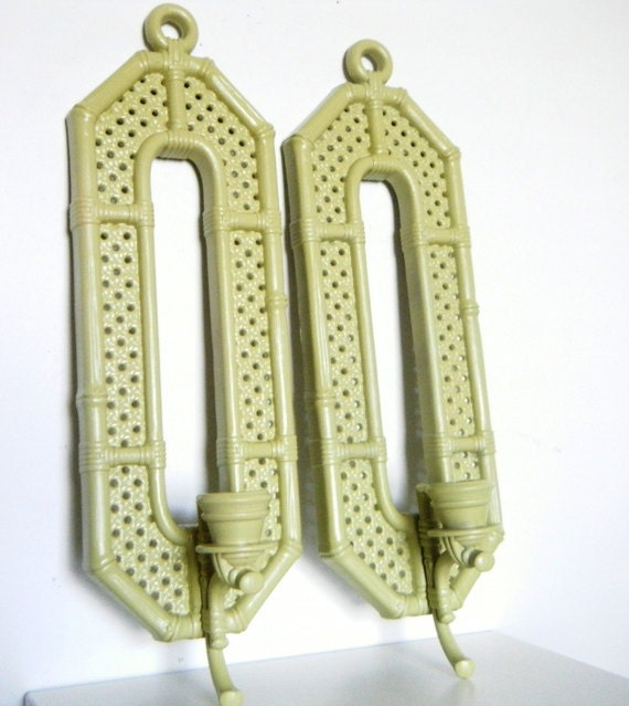 Bohemian Chic Decor. Olive Green Candle WALL Sconces Vintage Upcycled Home Decor Set of Two or YOU Choose Color Eco Decor