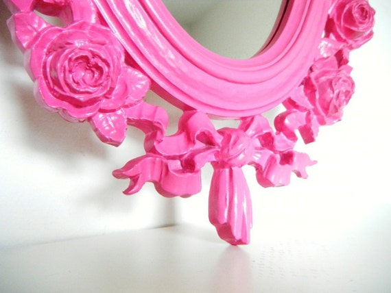 Vintage Mirror Pink Shabby Chic Girls Room Bright Upcycled Eco Friendly Ornate Paris Decor