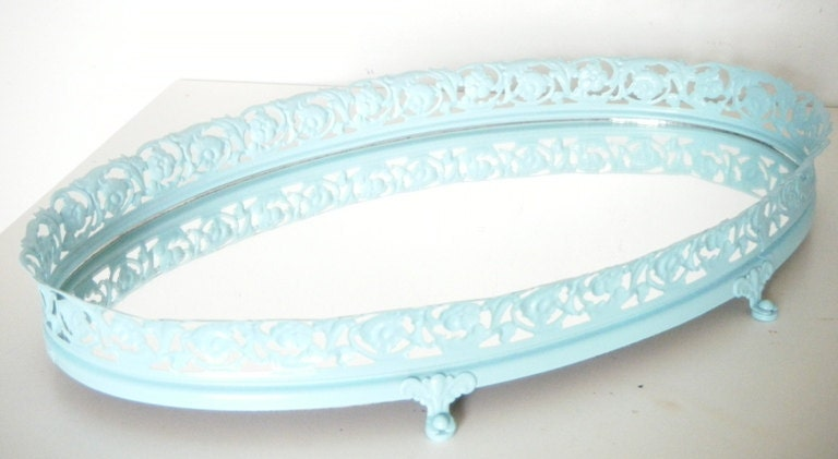Mirror vanity tray ocean blue tray home decor bathroom shabby for Bathroom tray decor