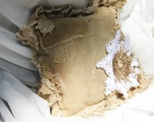 Pillow Grunge Tattered Hessian Neutral Antique Recycled Bag