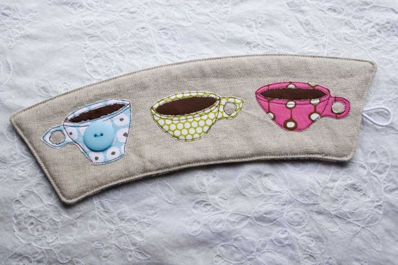 Dotty Melmac Coffee Cozy (Blue/Green/Pink) - Listing for mollydollyinc