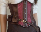 Steampunk utility corset , underbust red  steampunk costume Neo-Victorian, coutil, steel-boning