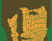 John Lennon Psychedelic Hand-illustrated Type 12'' x12'' Print