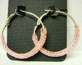 Wire crochet hoops Viking knit earrings Large silver hoop earrings pink earrings woven jewelry