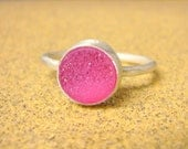 Pink druzy ring sterling silver stacking gemstone ring sterling silver ring stack ring neon ring