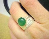 Stacking Gemstone ring set Sterling silver rings stackable rings silver jewelry floral jewelry green aventurine