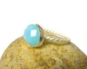 Aqua blue chalcedony ring sterling silver ring gemstone ring pastel fashion Black Friday Etsy Cyber Monday Etsy