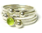 Silver peridot ring Sterling silver stacking rings set gemstone stackable ring silver nugget green gemstone ring