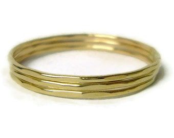 14k gold rings Yellow gold ring gold stacking rings hammered gold band thin gold ring solid gold ring wedding band set