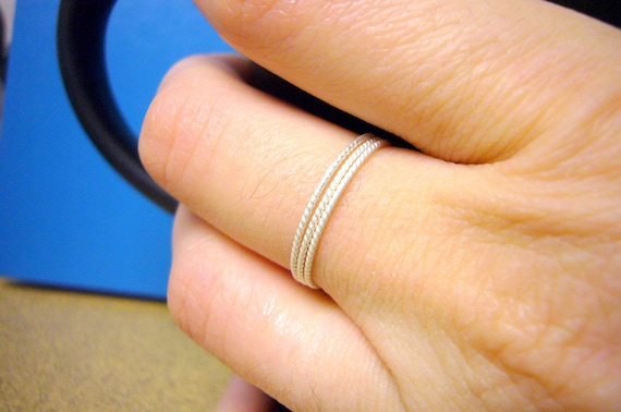 Sterling silver stacking ring set stackable rings stackable ring sterling ring super skinny twisted wire Etsy jewelry