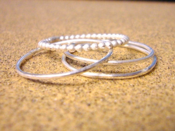 Sterling silver rings sterling silver stacking ring set of 4 Handmade silver ring hammered beaded Etsy jewelry