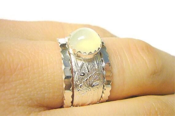 Moonstone engagement ring wedding band set promise ring alternative engagement ring sterling silver ring Etsy jewelry