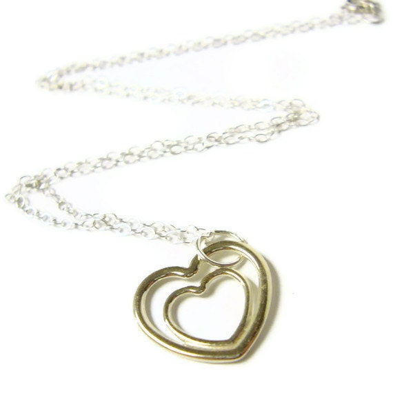 Sterling silver heart pendant necklace sterling silver heart jewelry open heart necklace double heart love necklace