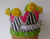 40th Birthday Party Hat, 40th Birthday Party Crown, zebra birthday hat, customized birthday hat
