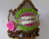 Birthday party crown, Birthday Party hat, Pink and Brown birthday hat,BIRTHDAY GIRL or customize, adult or child