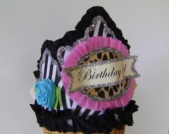 Birthday party Crown, birthday party Hat, zebra birthday hat, girls birthday hat, customize