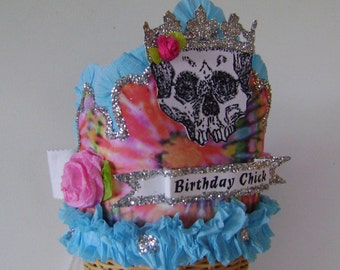 Birthday party hat, Birthday party crown - scull Birthday hat, Tye Dye Birthday Hat - BIRTHDAY CHICK or customize
