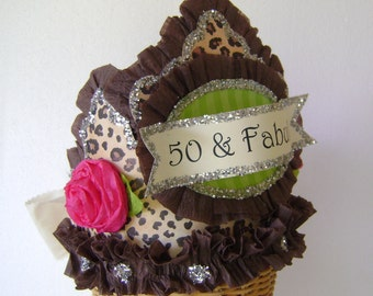 50th Birthday Party Crown, 50th birthday Hat, 50th party hat, over the hill birthday hat,  Adult Birthday , 50 & Fabulous- Customize