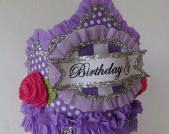 Birthday Party Crown, Birthday Hat, purple birthday hat,   BIRTHDAY GIRL,  Adult or Child, customize