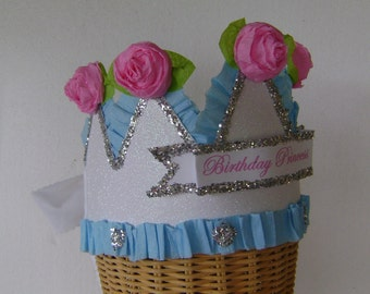 Princess Birthday Party crown, Princess birthday hat, girl birhday crown, glitter birthday hat, customize