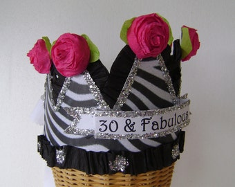 30th Birthday Hat / Crown- zebra - customize with any saying