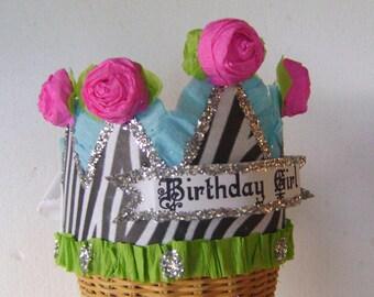 Birthday Party Crown, birthday party hat, zebra birthday hat,   Birthday Girl or customize