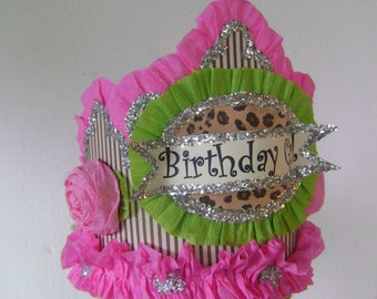Birthday Party Hat, Birthday Party Crown, Pink and brown birthday hat, customized birthday hat
