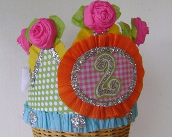 2nd Birthday party hat, 2nd birthday party crown, girls birthday hat, baby birthday hat, customize
