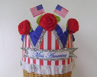 4th of July Hat, 4th of July crown, red white and blue hat, Patriotic hat, adult or child- MISS AMERICA or customize