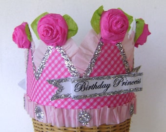 Birthday Party Crown, Birthday Party Hat, Party Hat,   BIRTHDAY PRINCESS or customize-  adult or child