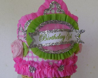 Birthday Party hat, Birthday Party Crown,Party hat, party crown,  pink polka dot birthday hat, - customize with any saying