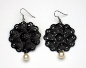 Black Filigree and Pearl Earrings