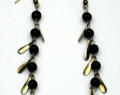 Black Beaded Dangle Earrings