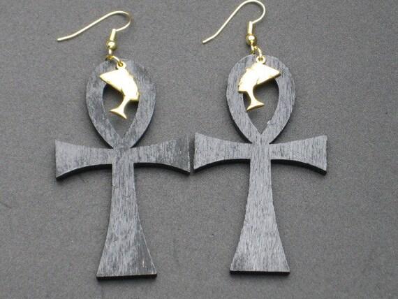 Nefertiti Ankh Wood Earrings