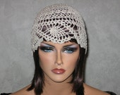 Handmade Crocheted Pineapple Lace Cloche -Natural Plus Size L-XL