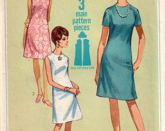 Vintage Simplicity 7072, Jiffy, Dress Sewing Pattern, Size 14