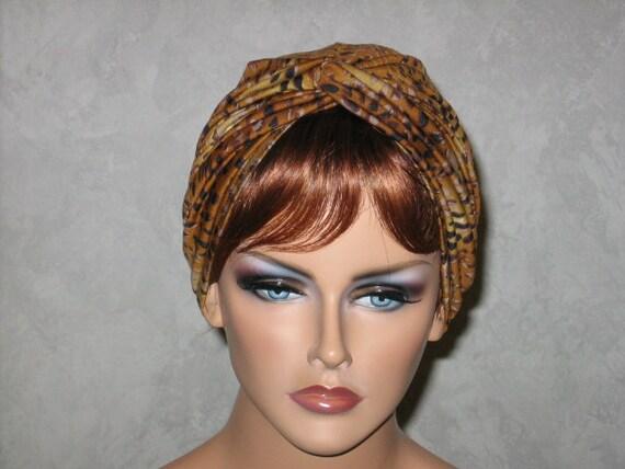 Handmade Twist Fashion Turban -Brown Leopard