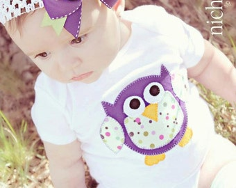 Purple and Green Owl Onesie and Bow