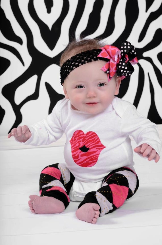 Big Lips KISS Onesie and Hair Bow