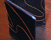 Metallic Blue Leather Wallet with Orange Cosmic Wave