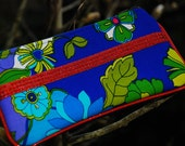 Vintage Blue Flowers and Red Jewels Clutch Bag