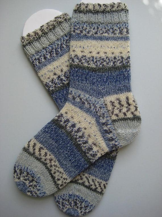 hand knit womens wool socks, UK 5-7 US 7-9