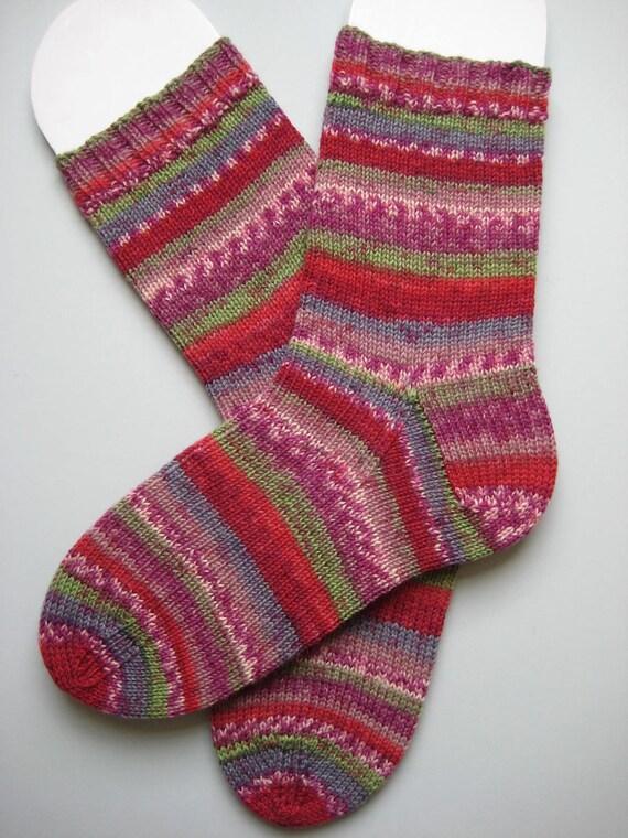 hand knit womens wool socks, UK 6-8 US 8-10