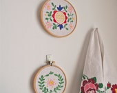 Pair of vintage embroidered floral wall art hoops