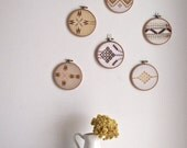 Mix & Match pair of vintage neutral embroidery wall art hoops