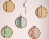 Mix & Match pair of vintage vertical embroidery wall art hoops