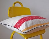 RESERVED - OOAK vintage red and yellow embroidered pillow cover