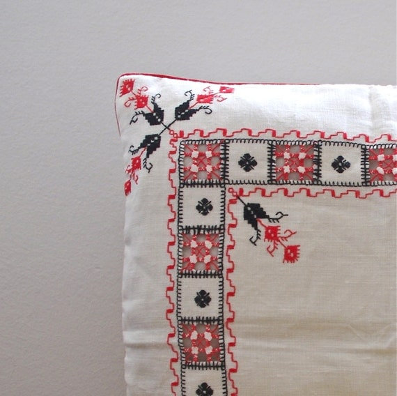 OOAK hand embroidered linen pillow cover