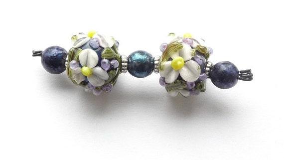 SALE Pale purple Chintz Flower Pair / Handmade Lampwork Beads SRA